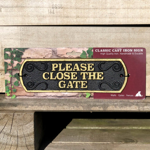 Please Close The Gate - Cast Iron Landscape Sign