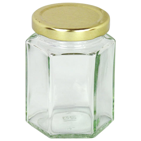 8oz Glass Hex Jar With Lid, 84 Pack - Bee Equipment