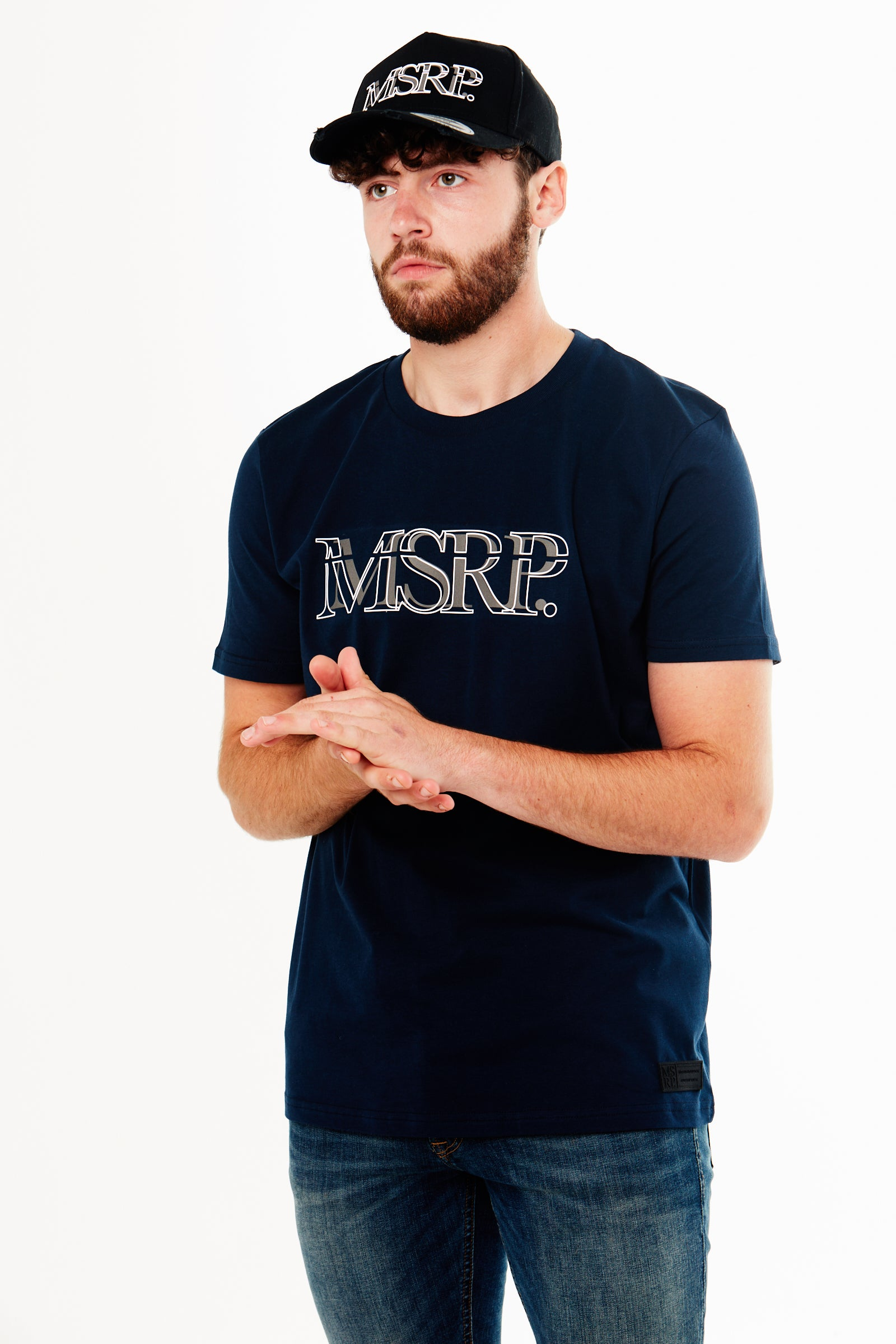 White Offset MSRP T-Shirt (Navy)