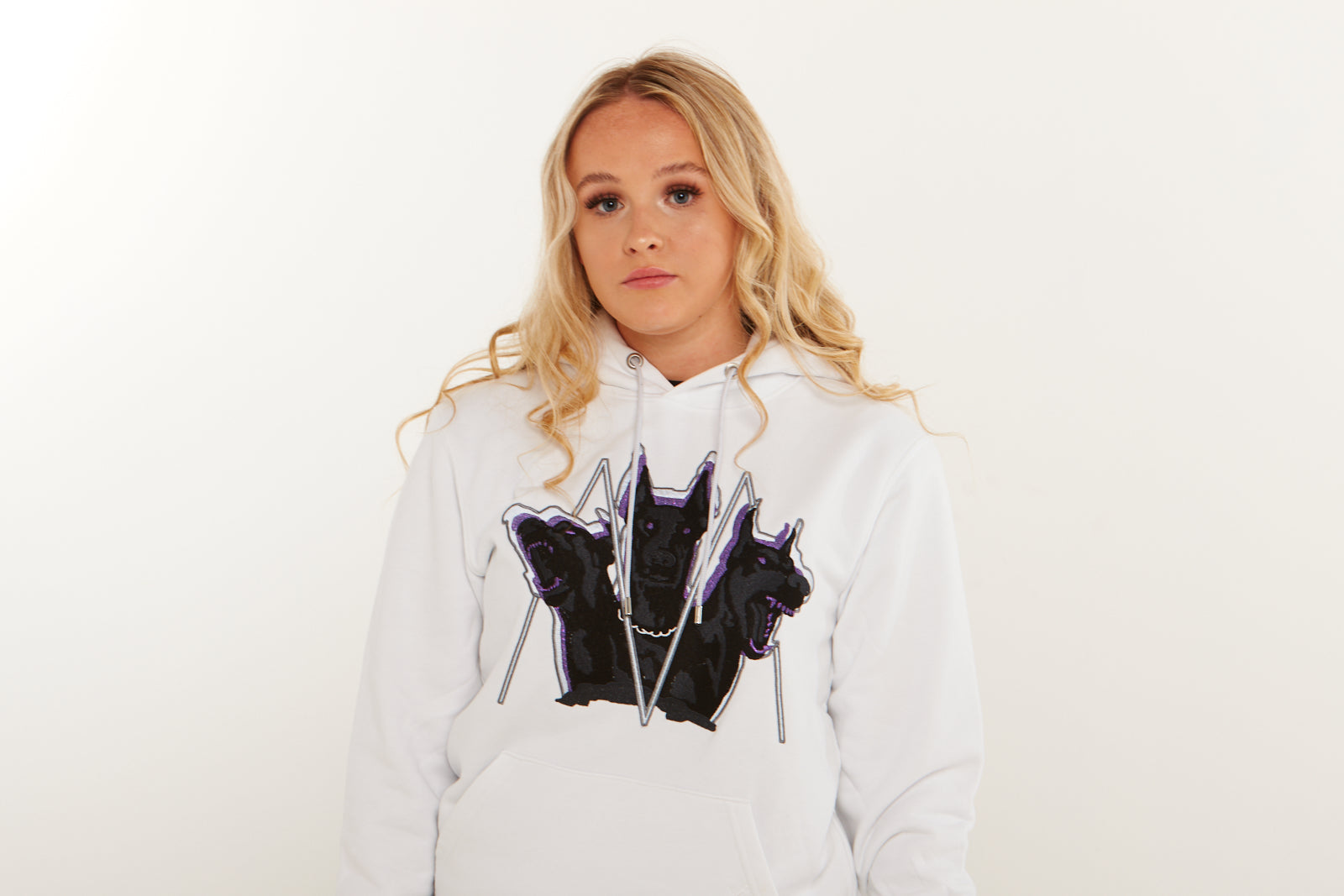 Embroidered Cerberus Hoodie (Purple) (White)