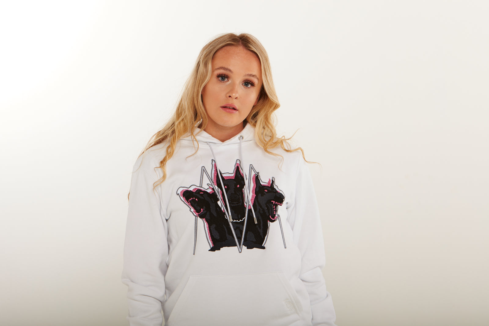 Embroidered Cerberus Hoodie (Pink) (White)