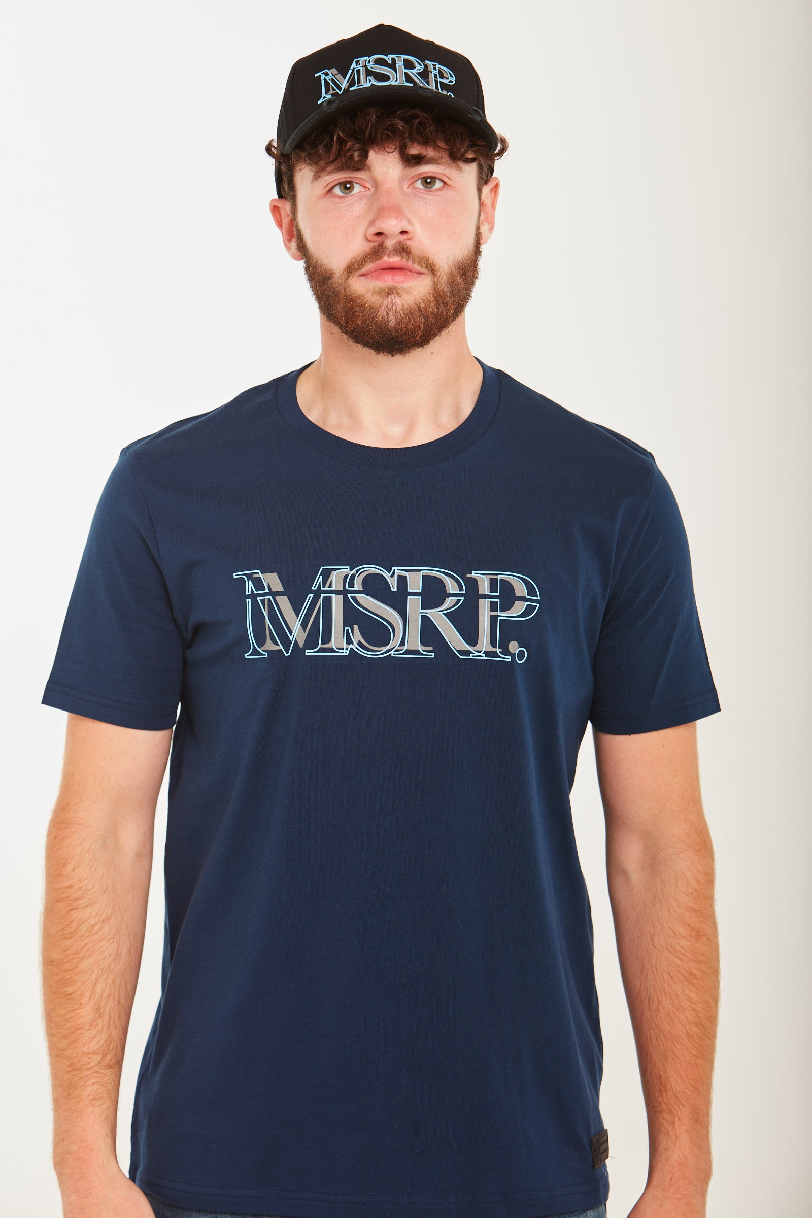 Cyan Offset MSRP T-Shirt (Navy)