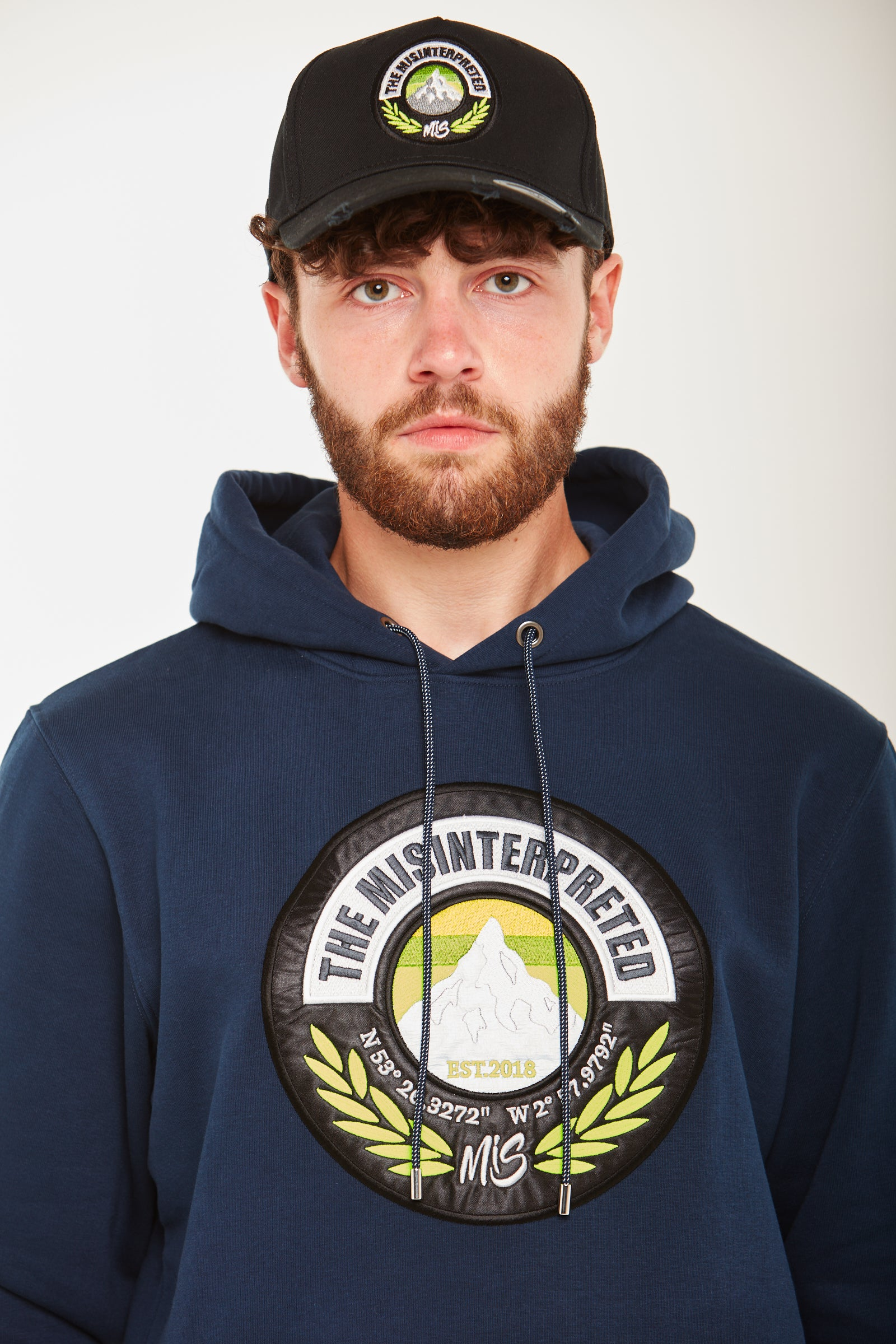 Lime Green Mountain Badge Hoodie (Navy)