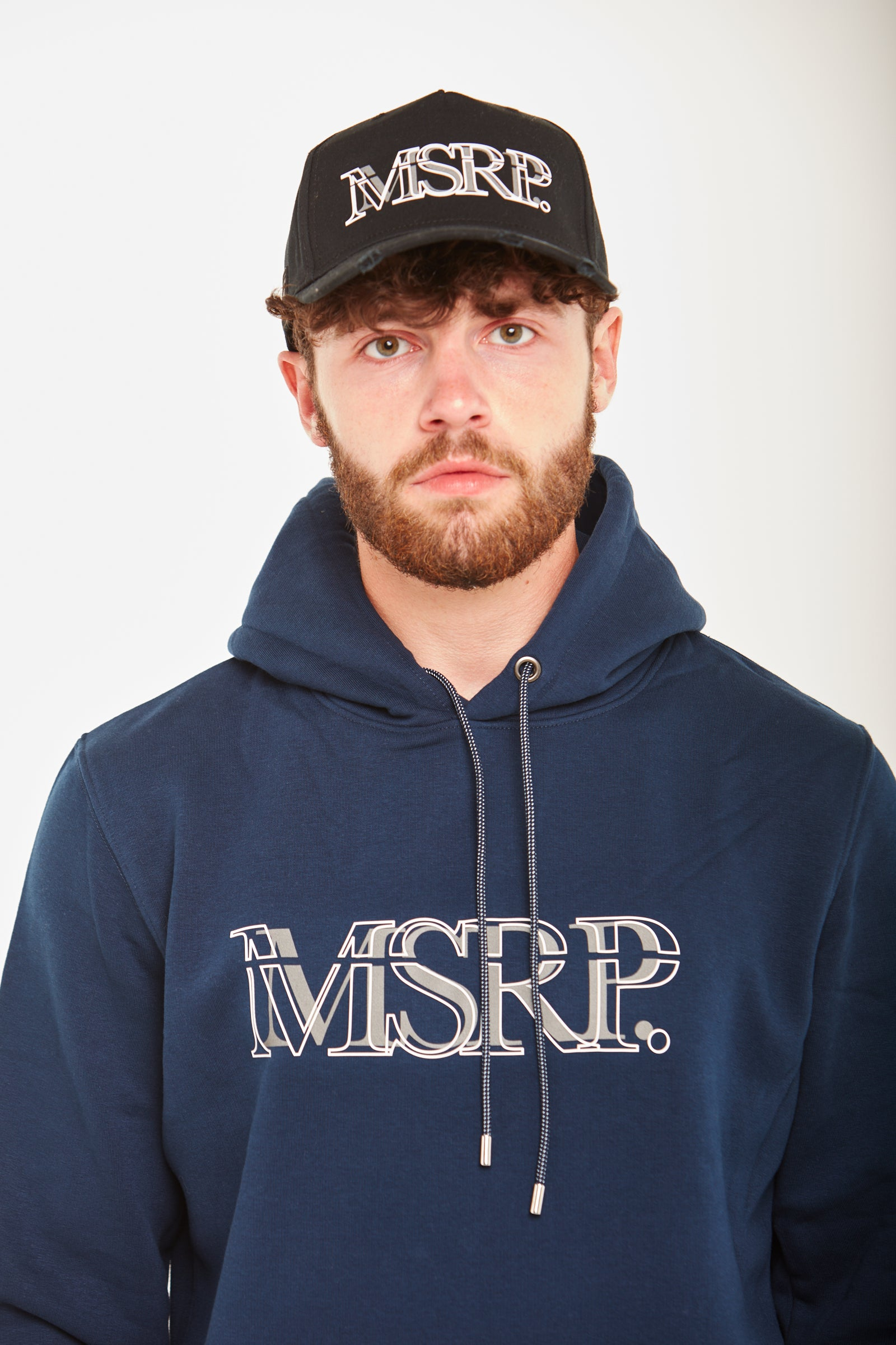 White Offset MSRP Hoodie (Navy)