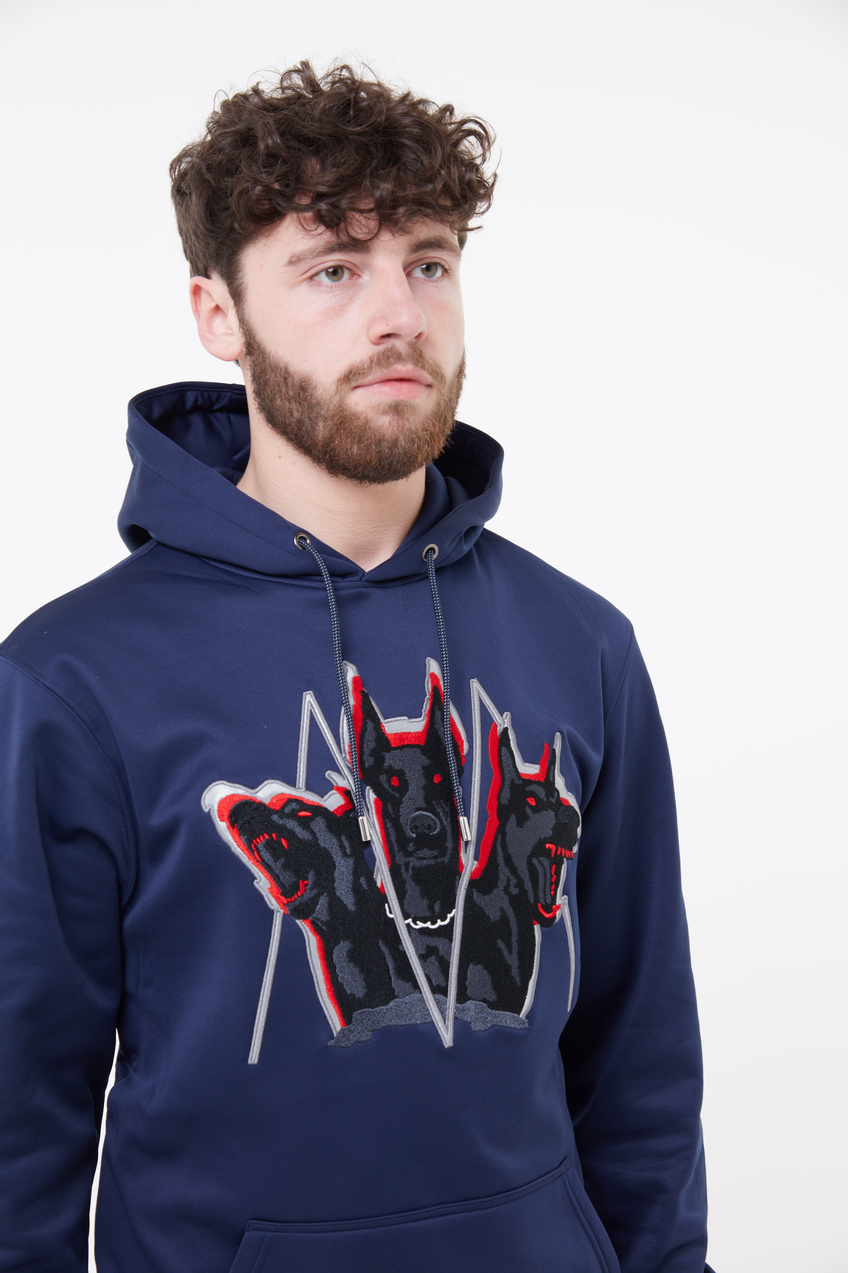 Embroidered Cerberus Hoodie (Navy) (Soft Shell)