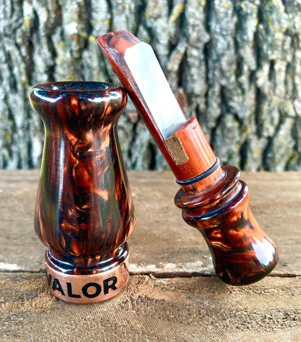 Valor Calls Full Custom Duck Call [Black Pearl/Copper]