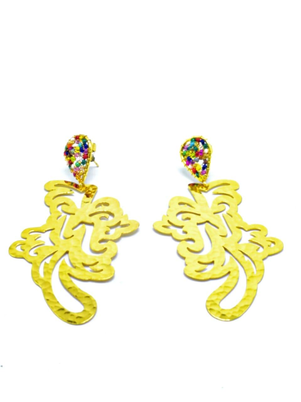 Aretes grandes arabesco colores