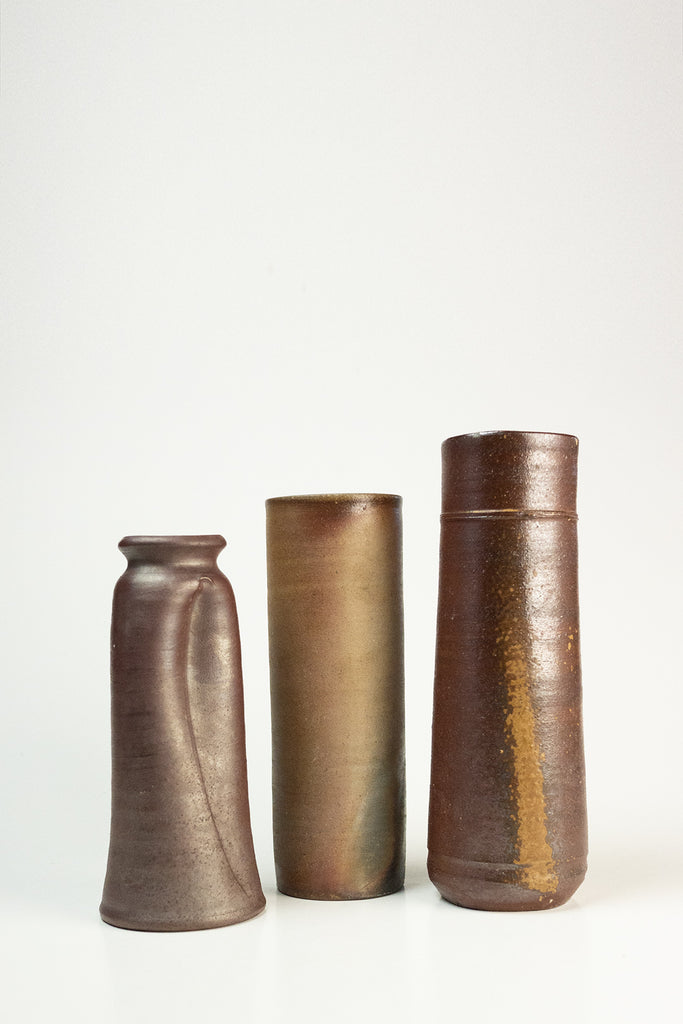 Set of three Bizen vases
