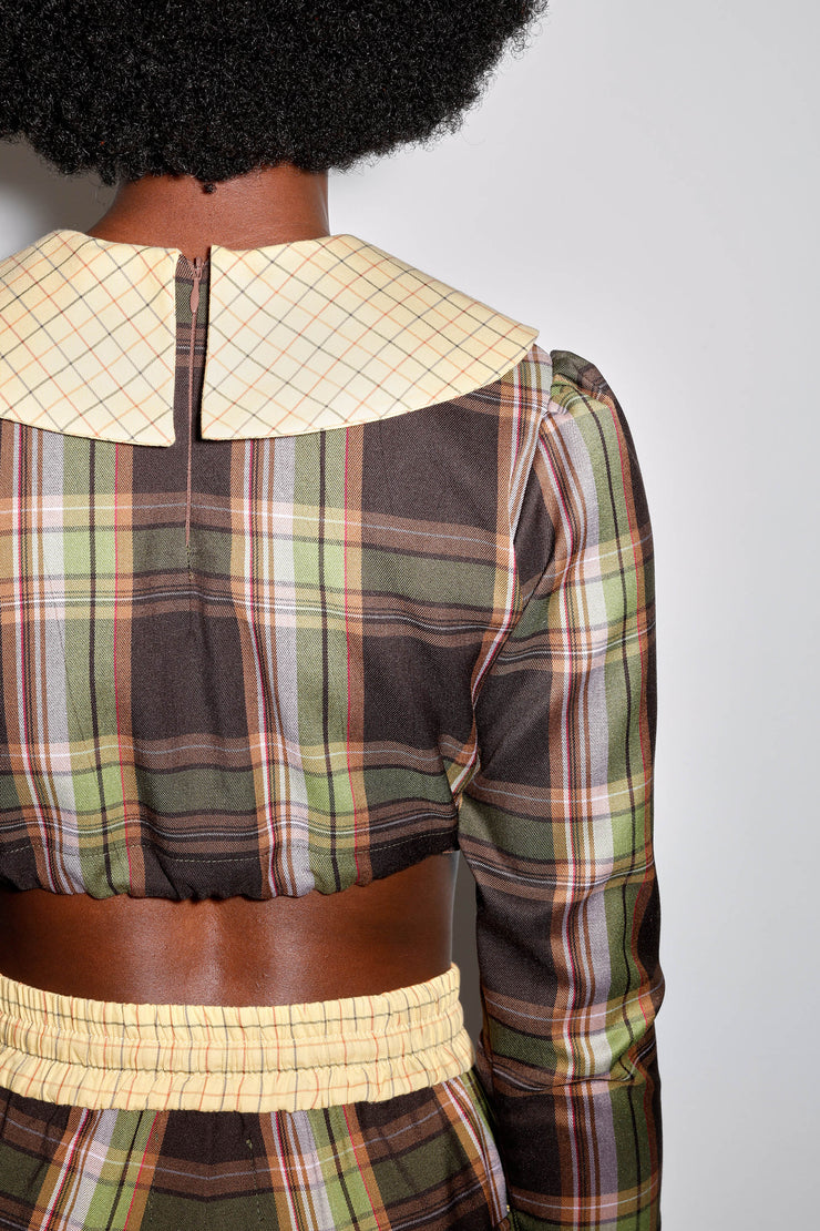 GRETEL BLOUSE BROWN PLAID