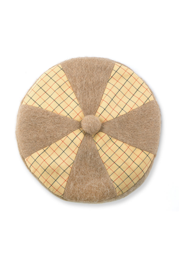 Yellow Check & Wool Beret