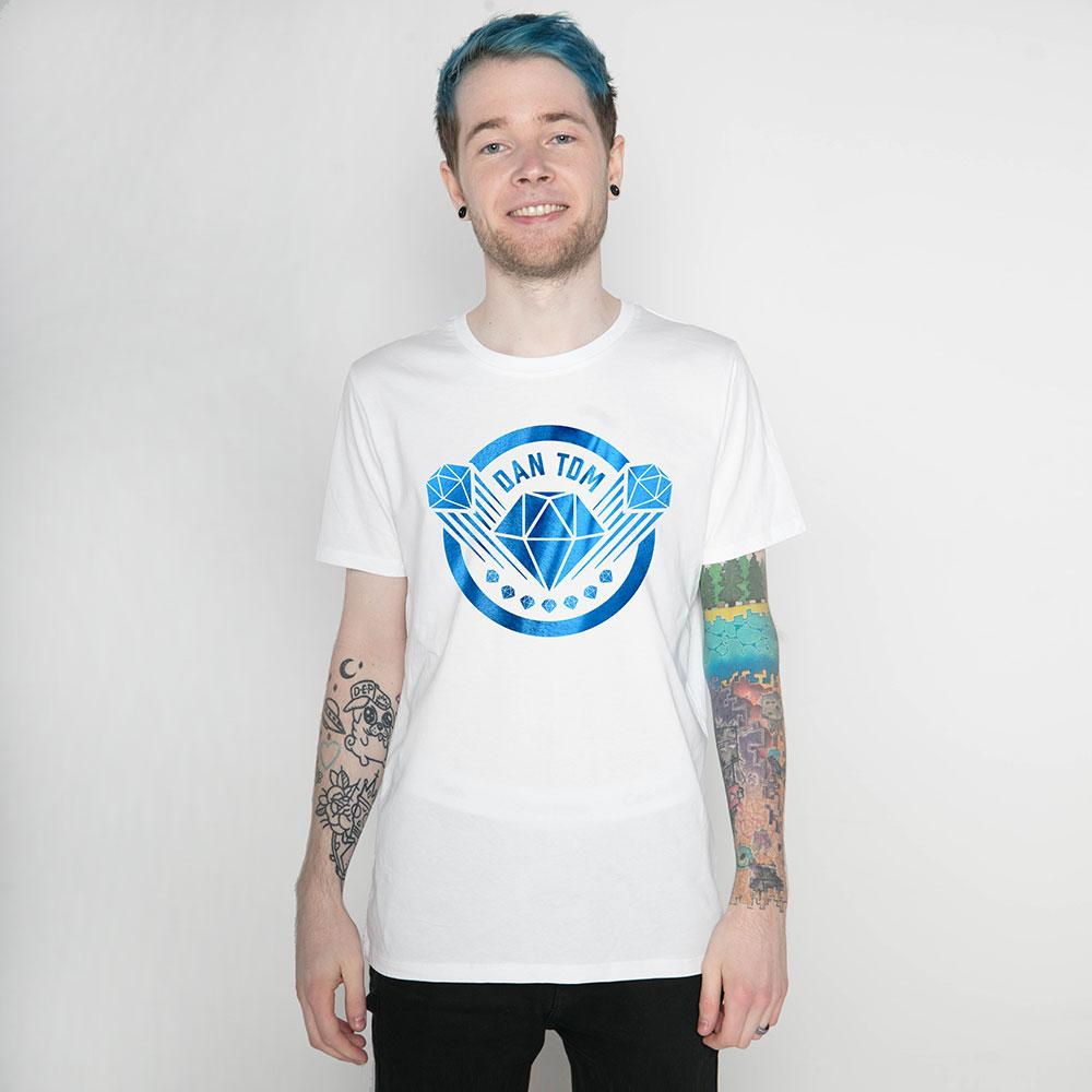 DanTDM White Blue Foil T-Shirt