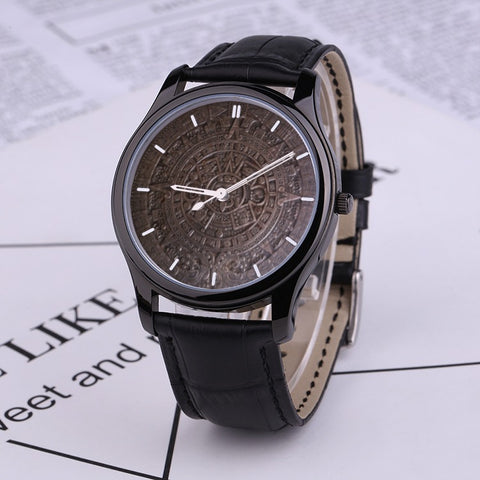 AS-TEK _ LIMITED EDITION - Aztèque Calendar Quartz Watch, Black Genuine Leather Band - by L.Mayer - Soul of The Gypsies