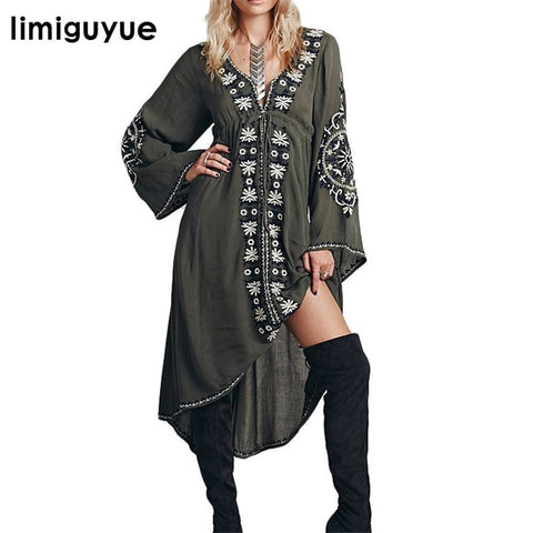 c8936a2b79d0a Embroidery Mexican Boho Dress Bohemian V-Neck Dress Hippie Chic Clothing -  Soul of The