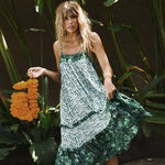 Green Boho dress Vintage floral print sexy sleeveless wear hippie chic women - Soul of The Gypsies