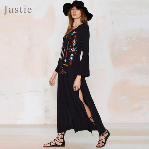 Embroidery Boho Dress Sexy Dress Hippie Chic Loose Women High Slit- Lace Deep V-Neck - Soul of The Gypsies