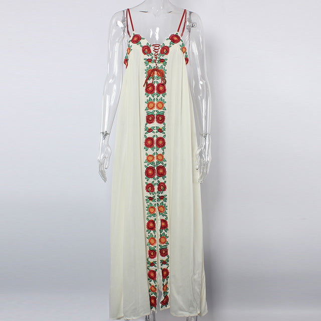 c436f19657d8f Sexy Dresses Hippie Chic Women Floral Embroidery - Boho Maxi Dress - V-Neck  Lace-Up Strapless