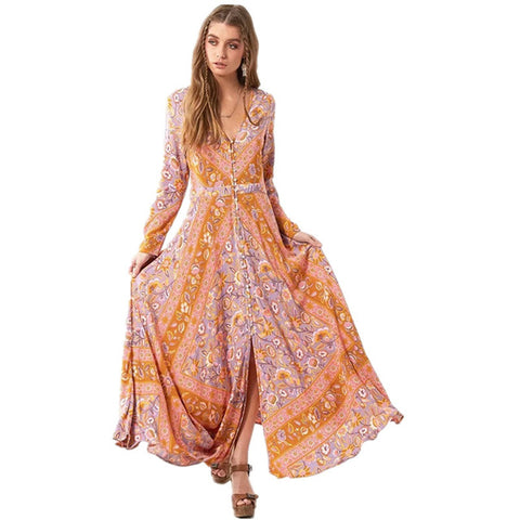 Bohemia Chic Clothing Ethnic Floral Print - Long Sleeve Women Dresses - Soul of The Gypsies