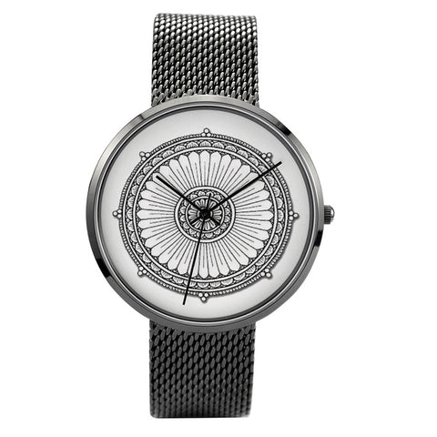 AS-TEK6 Mayan Mandala - 30 Meters Waterproof Quartz Fashion Watch With Casual Stainless Steel Band - Soul of The Gypsies