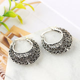 New Gypsy Round Earrings Tribal Ethnic SilverJewelry Carving Hollow Out