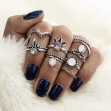 Vintage Rings set for Women  8 PCS Knuckle Rings - Boho Zircon V Shaped - Soul of The Gypsies