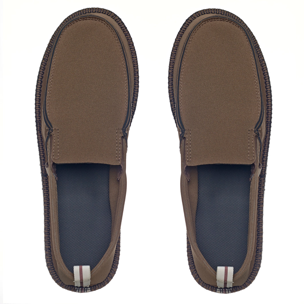Image of neoprene boat shoes. Olive color. Made by Showaflops