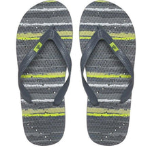 Load image into Gallery viewer, Image of shower flip flops by Showaflops. Stripe design with diagonal hole pattern..