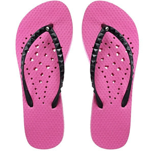 Full top view of Antimicrobial Shower Shoes by Showaflops - hot pink with holes for drainage