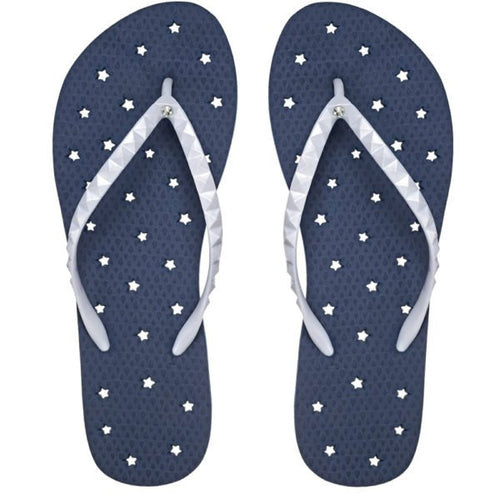 Full view of Anti-Slip Shower Flip Flops - The Navy Stars by Showaflops