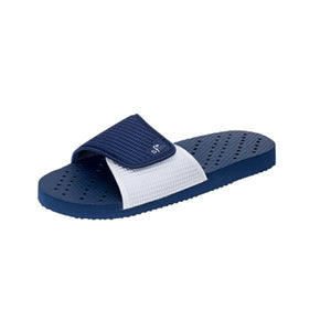 Side view Image of navy and white shower flip flops with drainage holes for a non-skid stride. Made by Showaflops