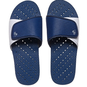 Image of navy and white non-skid shower flip flops. Made by Showaflops