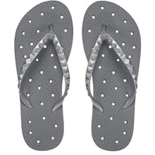 Load image into Gallery viewer, Image of shower flip flops with a pewter stars design. Made by Showaflops