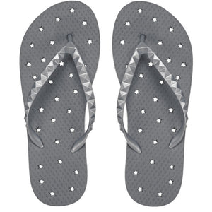 Image of shower flip flops with a pewter stars design. Made by Showaflops