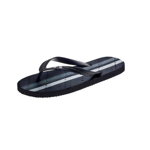 Side view Image of striped shower flip flops. Grey and white stripes. Made by Showaflops