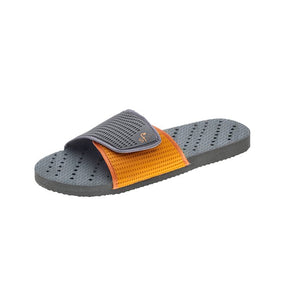 Sideview of grey and orange women's shower shoes by Showaflops