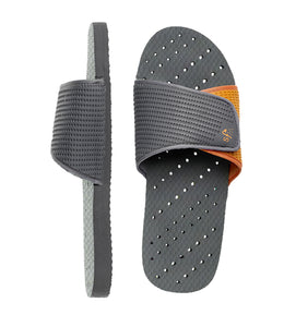 Two views of women's shower shoes by Showaflops - grey and orange