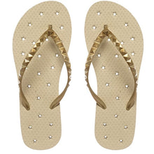 Load image into Gallery viewer, Image of shower flip flop featuring a Neutral sand-colored footbed with a metallic gold stud strap. Drainage hole pattern make for a perfect non-skid flip flop.