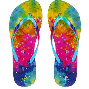 Image of tie dye shower flip flops.  Tie dye colored sole and strap plus drainage holes for a non-skid flip flop.