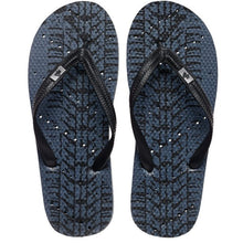 Load image into Gallery viewer, Image of shower flip flops by Showafops. Tire track design with hole pattern.