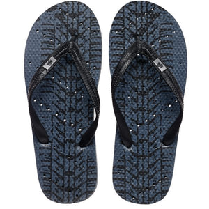 Image of shower flip flops by Showafops. Tire track design with diagonal hole pattern.