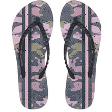 Load image into Gallery viewer, Image of shower flip flops by Showafops. Vintage camo design with hole pattern.