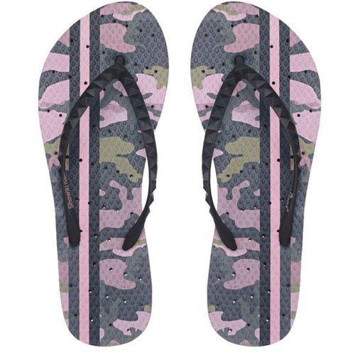 Image of shower flip flops by Showafops. Vintage camo design with hole pattern.