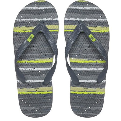 Image of shower flip flops by Showaflops. Stripe design with diagonal hole pattern..