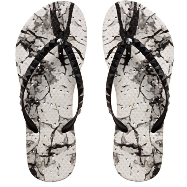 image of shower flip flops with an abstract print. Showaflops