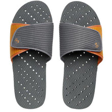 Load image into Gallery viewer, Grey and orange women's shower shoes by Showaflops