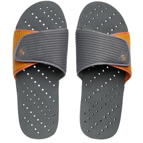 Grey and orange women's shower shoes by Showaflops