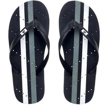 Load image into Gallery viewer, Image of striped shower flip flops. Grey and white stripes. Made by Showaflops