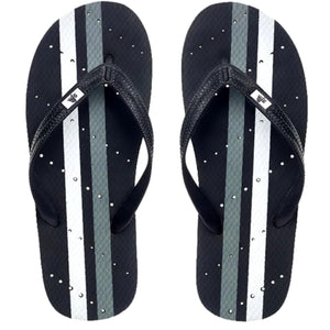 Image of striped shower flip flops. Grey and white stripes. Made by Showaflops