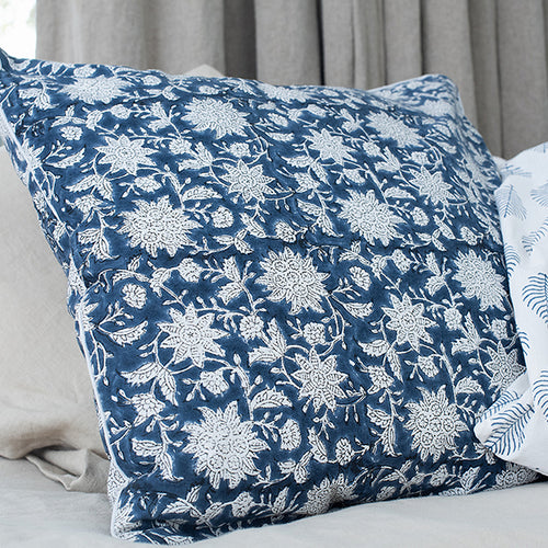 Pillowcase | 50x50 | White & Denim blue #2