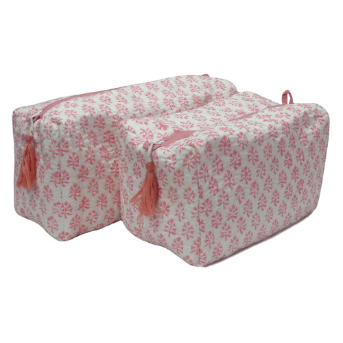 Blockprint cosmetic bag | Set of 2 | Pink