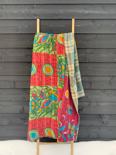 Vintage kantha quilt | Colorful